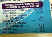 Ciclamato y sacarina líquida - Información nutricional - es