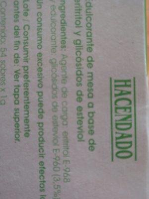 """Estevia """"Hacendado"""" - Ingredientes"""