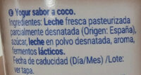 Yogur sabor coco - Ingredients - es