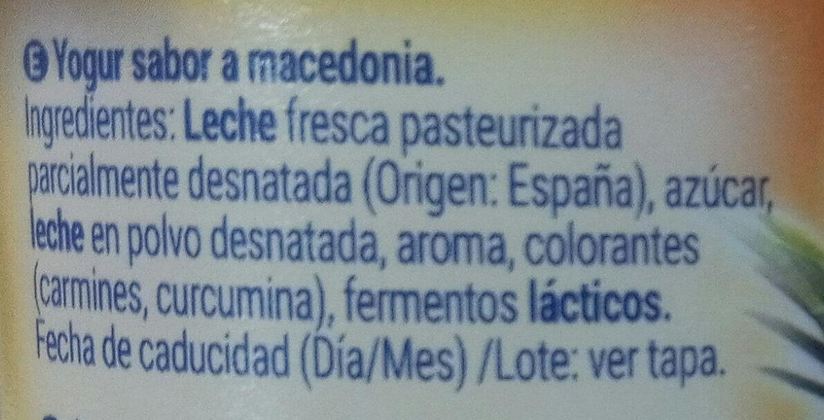 Yogur sabor macedonia - Ingredients - es