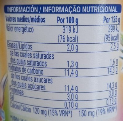 Yogur sabor macedonia - Nutrition facts - es