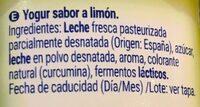 Yogur sabor limón - Ingrediënten