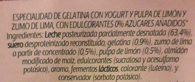 Gelatina de yogur - Ingredients