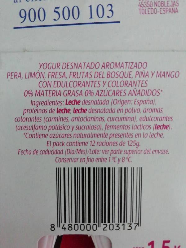 Yogures 0% sabores - Ingredients - es