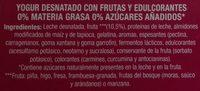 Linea V con fruta - Ingredientes