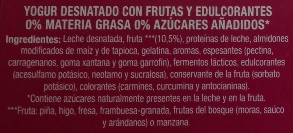 Linea V con fruta - Ingredients