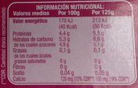 Linea V con fruta - Informació nutricional