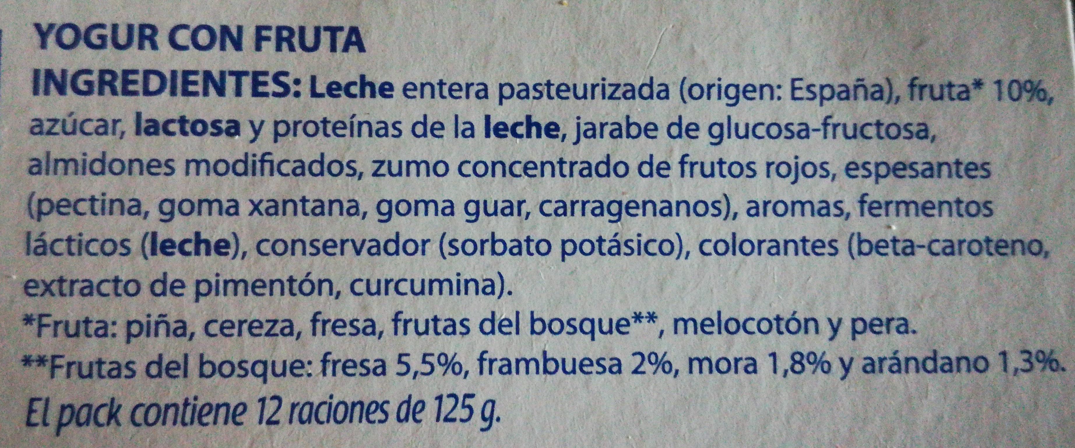 Yogur con frutas - Ingredients