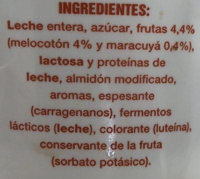 Yogur con trozos de melocotón y pulpa de maracuyá - Ingredients