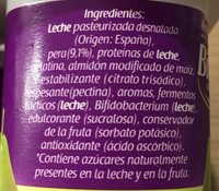 Bifidus desnatado 0% pera - Ingredients
