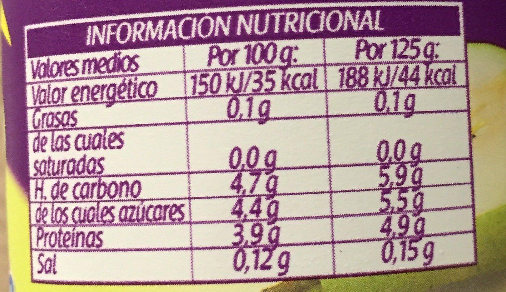 Bifidus desnatado 0% pera - Informació nutricional