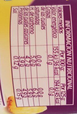 Bífida 0% 0% Piña - Voedigswaarden