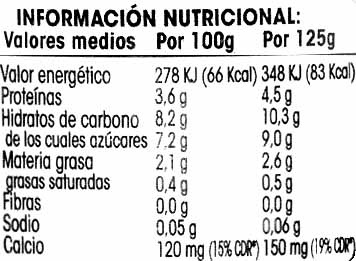 de soja Natural (Mercadona) - Información nutricional