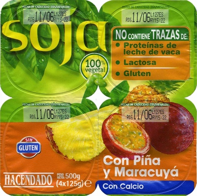 Postre de soja con piña y maracuyá - Producto - es