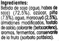 Postre de soja con piña y maracuyá - Ingredientes