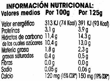 Postre de soja con piña y maracuyá - Información nutricional - es