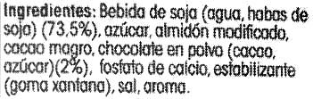 Postre de soja Chocolate - Ingrédients