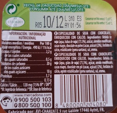 Soja (chocolate) - Informations nutritionnelles - es