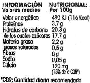 Postre de soja Chocolate - Informations nutritionnelles