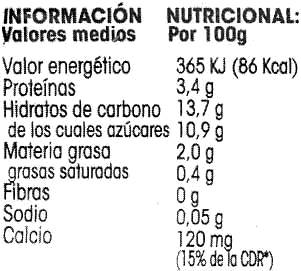 Yogur soja vainilla - Informations nutritionnelles - es