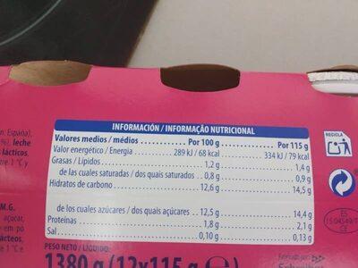 Yogur fresa - Información nutricional - es