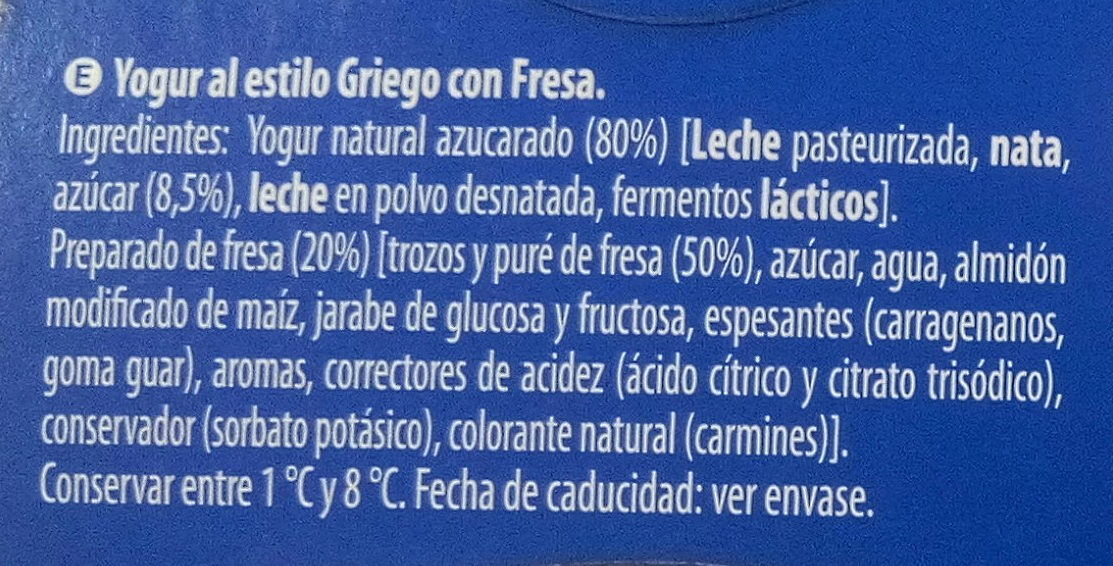 Griego Fresa - Ingredients