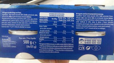 Griego Fresa - Información nutricional