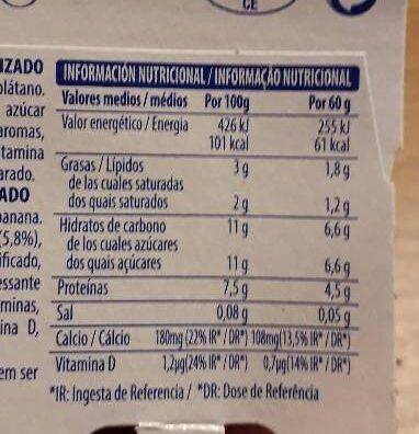 Petit fresa plátano - Informació nutricional - es
