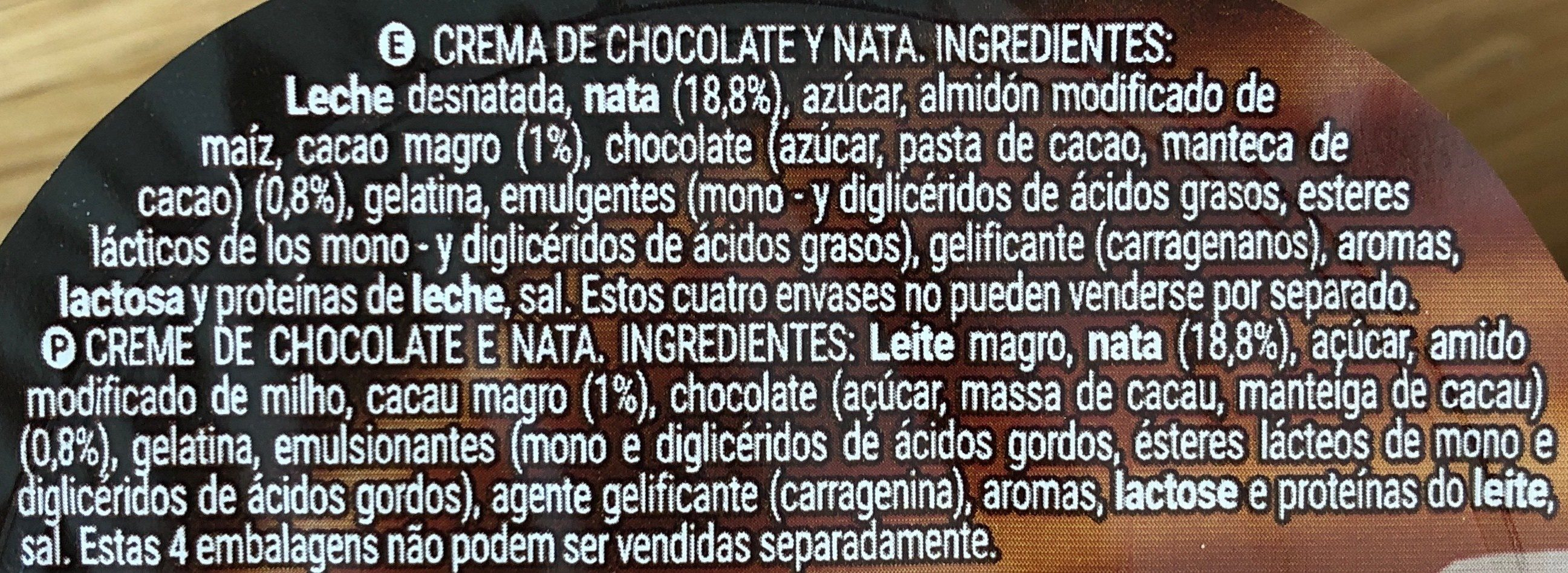 Chocolate Nata - Ingredientes