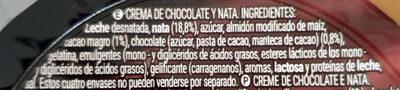 Chocolate nata - Ingrediënten - es