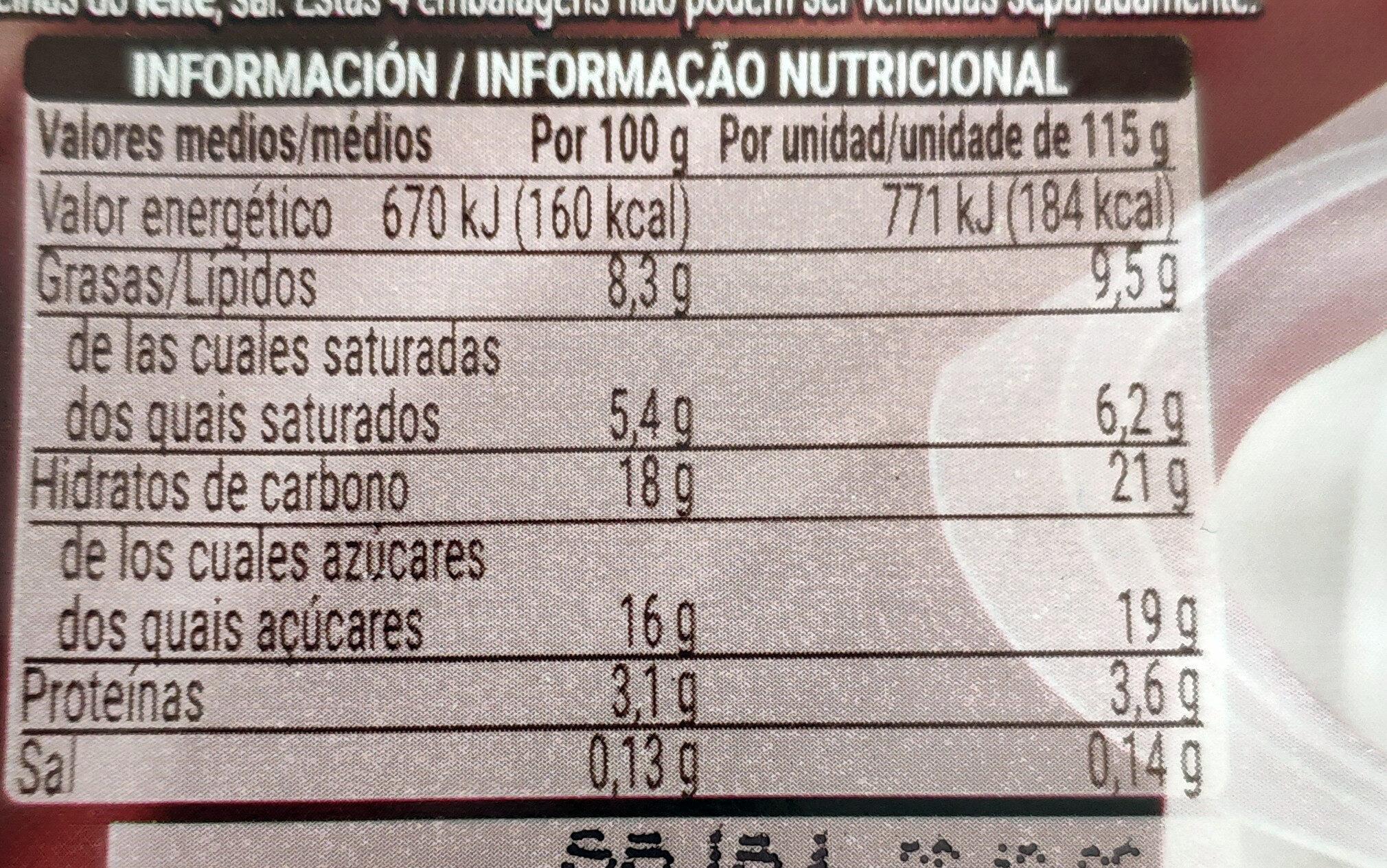 Chocolate nata - Voedingswaarden - es