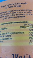 Yogur al estilo GRIEGO NATURAL - Ingredienti - es