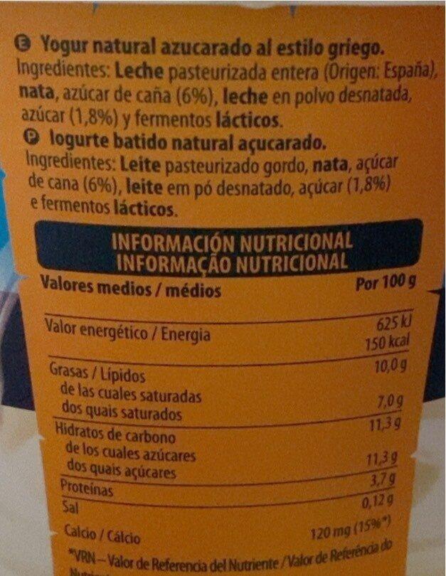 Yogur al estilo GRIEGO NATURAL - Valori nutrizionali - es