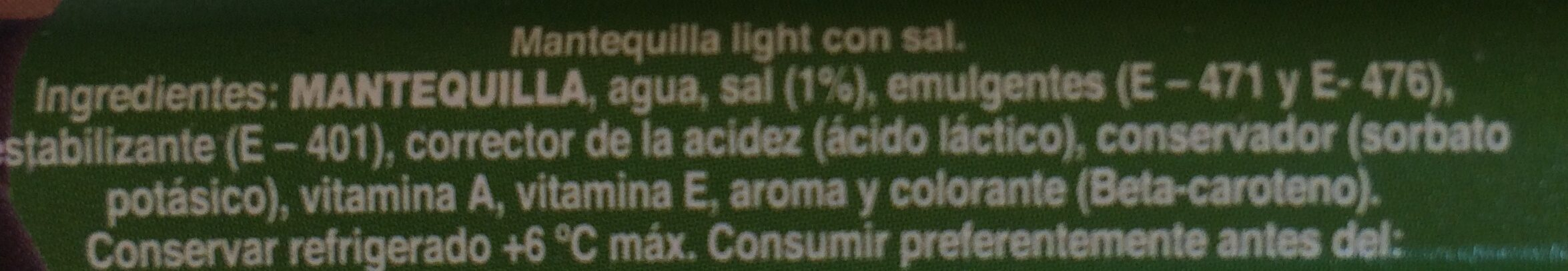 Mantequilla Light con sal - Ingrediënten - es