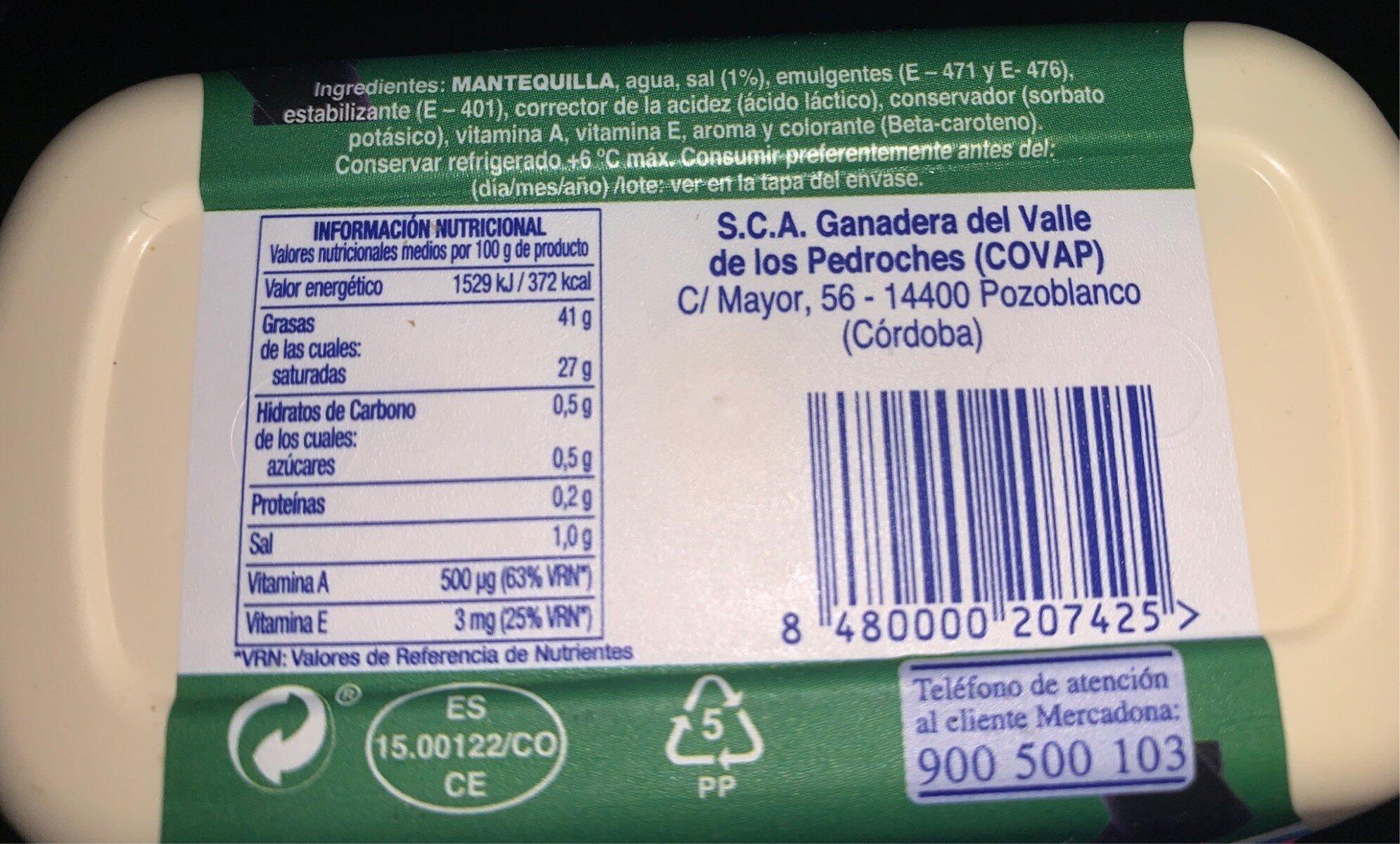Mantequilla light - Información nutricional