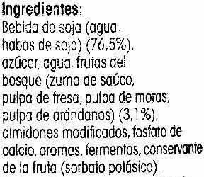 Postre de soja con frutas del bosque - Ingredientes