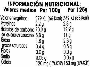 Postre de soja con frutas del bosque - Información nutricional
