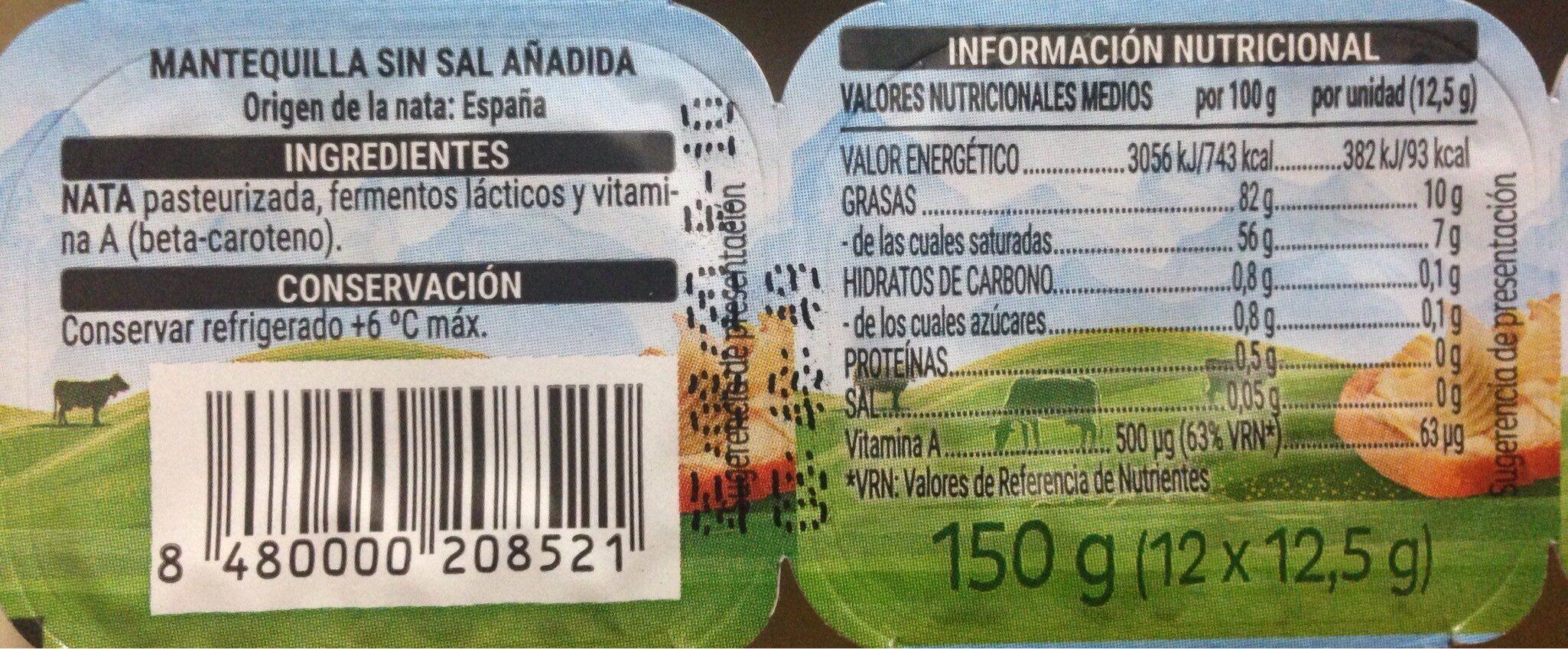 Mantequilla Sin Sal Añadida - Información nutricional - es