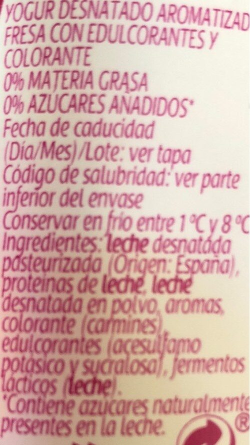Yogur sabor fresa 0% - Ingredients - es