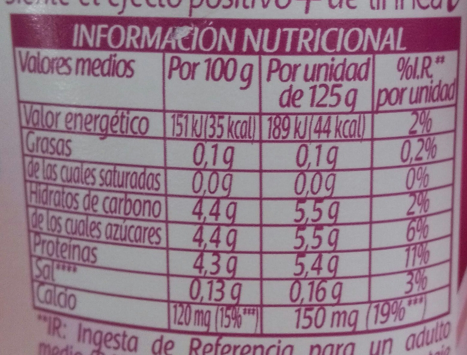 Yogur sabor fresa 0% - Nutrition facts - es