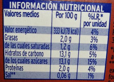 Yogur de beber sabor coco - Voedigswaarden