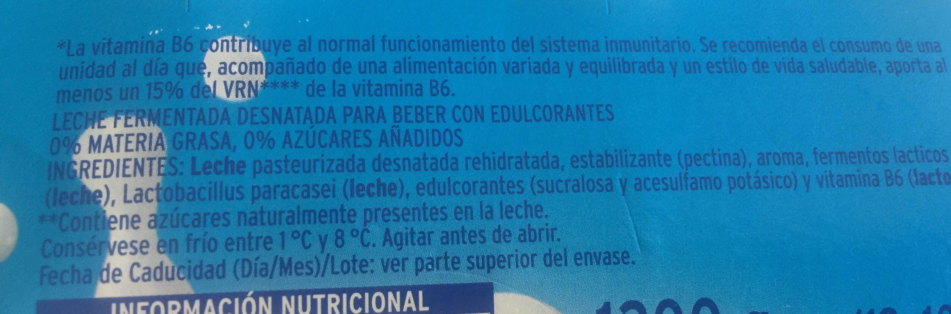 Leche fermentada con L.Casei 0% - Ingredientes - es