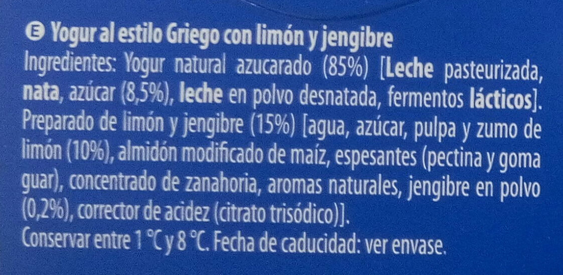 Griego Limón y Jengibre - Ingredients