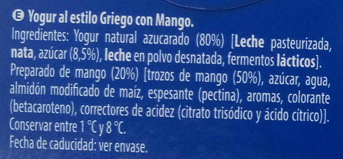 Yogur Al Estilo Griego Con Mango - Ingredients