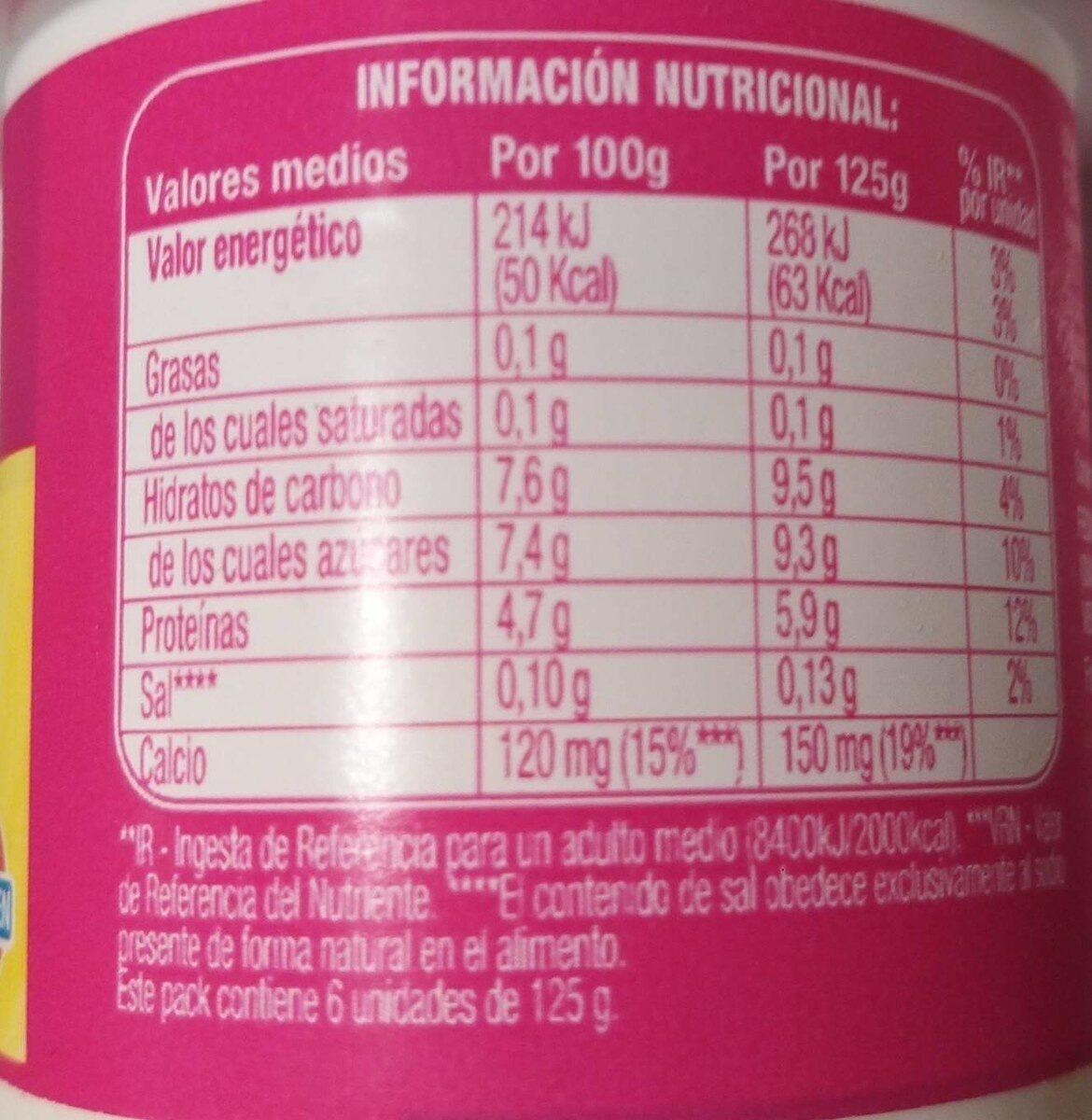 Yogur con frutas - Informació nutricional
