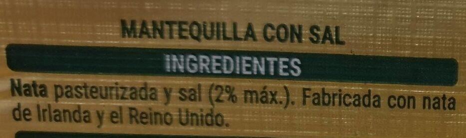Mantequilla de Irlanda (con sal) - Ingrediënten - es