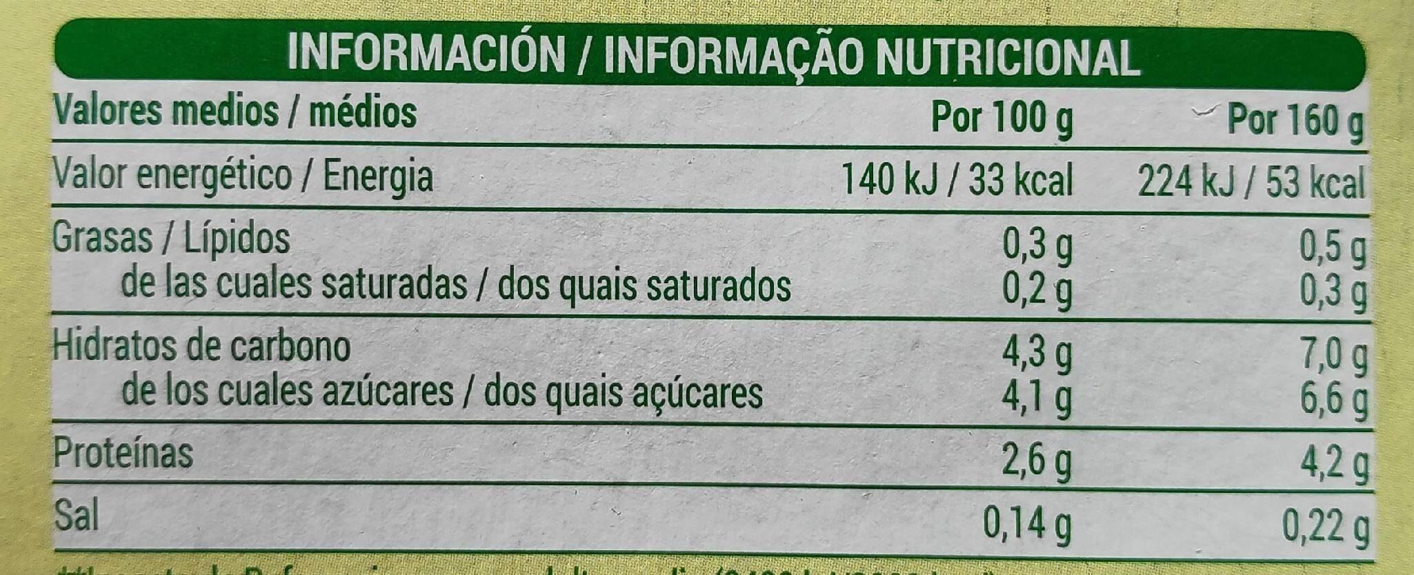 Bifidus con lima - limon 0% - Información nutricional - es