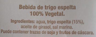 Bebida de trigo espelta - Ingredientes - es