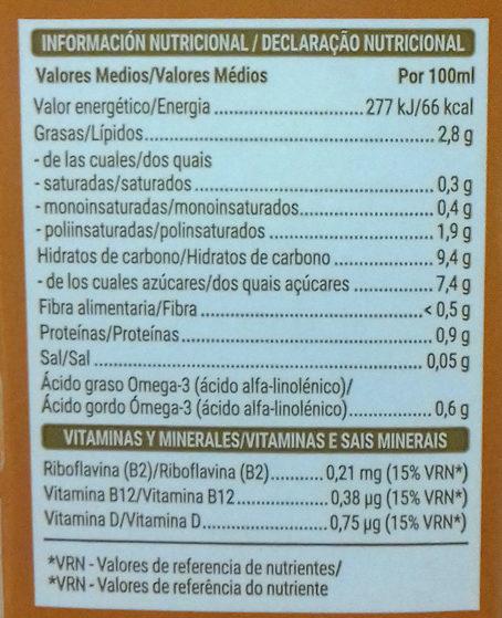 Bebida de nuez y arroz - Nutrition facts - es