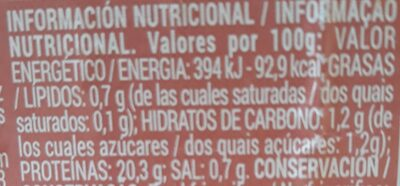 Gambón - Nutrition facts